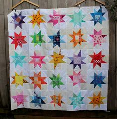 "wonky stars quilt top, 5"" squares cut from scraps and collected for just such a quilt!"