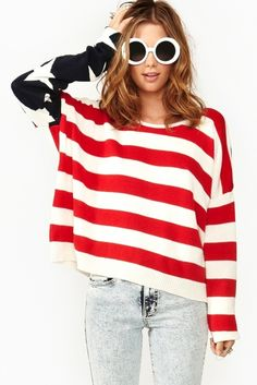 USA Print Sweater. Land of The Free- Home of the Fashionable. #USA #america. I don't even care that I'm Canadian. I'd still rock this.