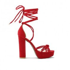 Tassie Knotted Lace Up Platform Heels in Red Faux Suede