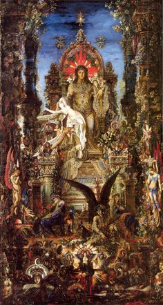 Gustave Moreau - Jupiter & Semele: the mortal woman Semele, mother of the god Dionysus, and her lover, Jupiter, the king of the gods. She was treacherously advised by the goddess Juno, Jupiter's wife, to ask him to appear to her in all his divine splendor. He obliged, but, in so doing, brought about her violent death by his divine thunder and lightning.