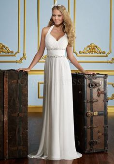 Graceful Sheath Chiffon Halter Beaded Empire Wedding Dress - Gopromdress.co.uk