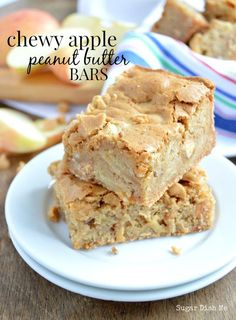 Chewy Apple Peanut Butter Bars One of my favorite apple dessert recipes EVER!