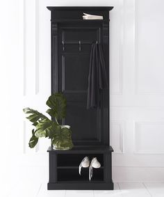 Narrow French panelled hall stand with shoe storage  An The