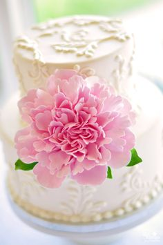 Made to Order Frilly Peony Clay Cake Flower with Leaves. $50.00, via Etsy.
