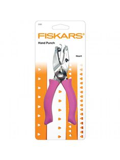 The Good Craft Shop: Fiskars Hand Punch - 1/4 Inch Large Heart can be used for embellishing craft projects, punching and creating confetti. The hand punch is stainless steel and can punch a wide range of materials including paper, plastic, thin leather, thin metal foil, foam, felt and light cardboard. Built-in confeffi catcher stores punched shapes which can be used as embellishments and the softgrip handles are designed for greater comfort and control.