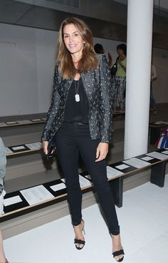 Supermodel style goes super High-Rise. Cindy Crawford attends #MADEfw in J BRAND's Maria in Seriously Black. #InMyJBRAND