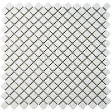"Gem 0.71"" x 0.71"" Porcelain Mosaic Tile in Glossy White"