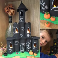 How to make a spooky Halloween mansion Halloween Castle made from toilet roll tubes by Lottie Makes Spooky Halloween, Buffet Halloween, Halloween Crafts For Kids, Halloween Activities, Diy Halloween Decorations, Paper Roll Crafts, Cardboard Crafts, Fun Crafts, Decor Crafts