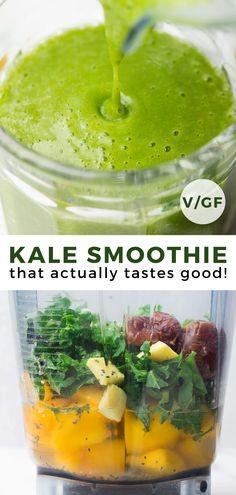 Kale Smoothie Recipes, Smoothies Detox, Apple Smoothies, Vegan Smoothies, Breakfast Smoothies, Smoothie Drinks, Green Smoothies, Kale Juice Recipes, Recipes