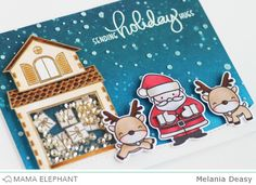 Hi everyone! Today I want to share my cards that combine Mama Elephant old stamp set with the new Holiday stamp set and I made it as a shake...