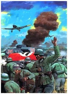 Some dramatic paintings showing various events of Second World War. Military Art, Military History, Military Uniforms, Army Drawing, Erwin Rommel, Operation Barbarossa, Ww2 History, Airplane Art, German Army