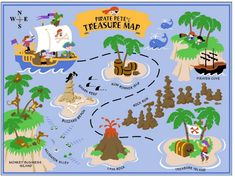 Pirates Treasure Map A4 Cake Topper Full A4 Sheet Edible Wafer Paper