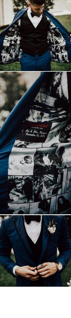 A touching memento the groom can cherish for years after the wedding. The entire lining of his tuxedo is silk screened with his engagement photos as well as individual pictures of his future wife.