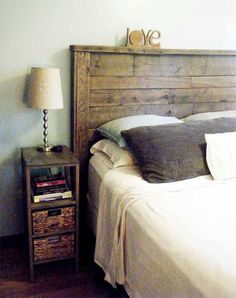 KING SIZE: Reclaimed Headboard by ThePalletShop on Etsy, $280.00  Like the distressed look...need bookshelves