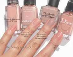Pink Nudes for Nails (D&G Petal #103, Chanel Rose Cache #521 and Dior Sienna #426)