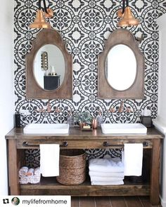small Bathroom Renovation- How to achieve a farmhouse style bathroom- farmhouse style- bathroom- remodeled bathroom- farmhouse bathroom- cement tile- copper accents- farmhouse style- bathroom update- bathroom reveal- bath Bathroom Renos, Bathroom Renovations, Master Bathroom, Design Bathroom, Bathroom Ideas, Rustic Renovations, Vanity Bathroom, Spanish Bathroom, Attic Bathroom