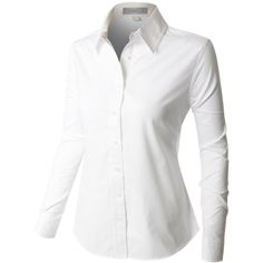 LE3NO Premium Womens Easy Care Long Sleeve Button Down Work Shirt (£15) ❤ liked on Polyvore featuring tops, white button up top, long sleeve work shirts, utility shirt, button up work shirts and white top