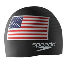 Speedo Cap U.S. Flag Silicone. Color Black. The cap of choice for Olympic champions. Contoured shape reduces drag. Lightweight silicone provides durable performance and optimum fit. Latex-Free. Easy on and off design won't snag hair. Style # 7510008. Speedo Cap U.S. Flag Silicone.