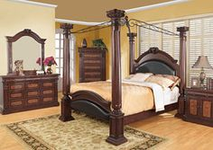 Grand Prado Black & Cherry Queen Bed, Dresser & Mirror