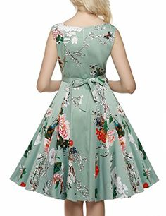 ACEVOG Vintage 1950's Floral Spring Garden Party Picnic Dress Party  Cocktail Dress - Rockabilly Clothing Store
