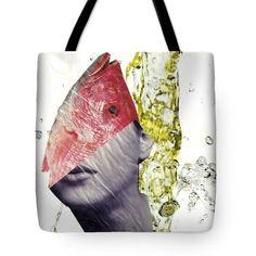 FishHead Tote Bag  http://fineartamerica.com/products/fishhead-sarah-loft-tote-bag-18-1..  #totebags #sarahloft #mixedmedia #collage #surreal #fish