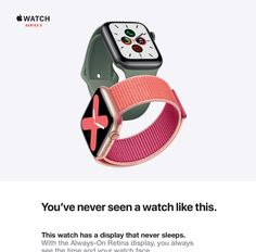 Apple Watch Series 5 (GPS, - Gold Aluminum Case with Pink Sport Band. GPS Always-On Retina display larger screen Swimproof ECG app Electrical and optical heart sensors Built-in compass Elevation Emergency SOS Fall detection Apple Watch For Sale, Smart Watch Apple, Apple Watch Apps, Apple Watch Series 3, Watch Sale, Best Smart Watches, Cool Watches, Ecg App, Retina Display