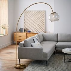 west elm Overarching Acrylic Shade Floor Lamp - Antique Brass/Smoke