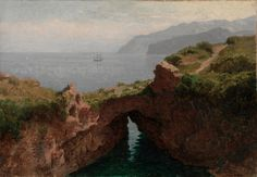 """Natural Arch, Capri,"" William Stanley Haseltine, 1856, oil on paper mounted on canvas, 13 x 18 13/16"", Cleveland Museum of Art."