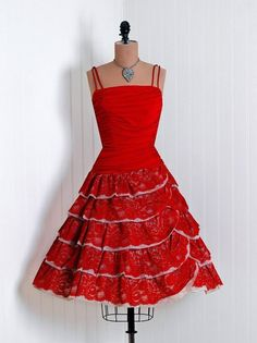 vintage cocktail dresses | 1950's Vintage Fiery Ruby-Red Ruched Silk-Jersey and French Chantilly ...