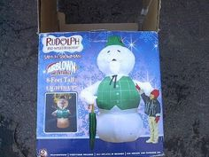 RUDOLPHS SAM THE SNOWMAN BURL IVES 8 FOOT INFLATABLE