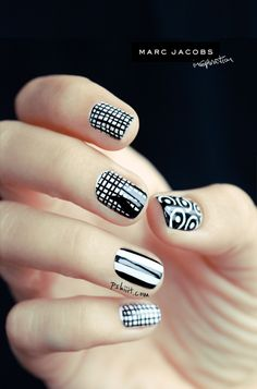 Love these black and white nails. Inspired by Marc Jacobs.