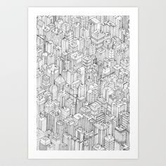 Isometric+Urbanism+pt.1+Art+Print+by+Herds+Of+Birds+-+$15.00
