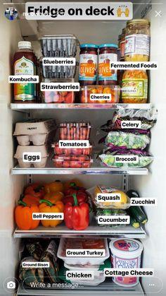 lexesnextdoor - Diet And Nutrition Healthy Fridge, Healthy Meal Prep, Healthy Snacks, Clean Fridge, Clean Bulk Diet, Clean Eating, Good Food, Yummy Food, Aesthetic Food