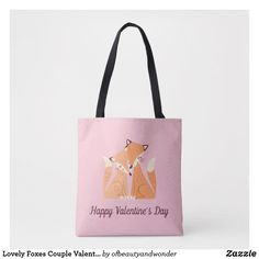 Lovely Foxes Couple Valentine   Tote Bag Edge Design, Personalized Products, Foxes, Happy Valentines Day, Reusable Tote Bags, Elegant, Stylish, Couples, Simple