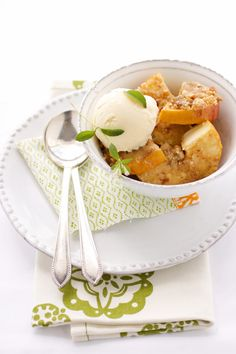 Roasted Apples with Almond and Muscovado Crumble and Marzipan Ice Cream :: Cannelle et Vanille