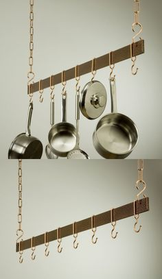The Sleek And Simple Design Of Ceiling Bar Hanging Pot Rack Allows You To Hang Your Pots Pans Overhead Where They Are Easy Acc