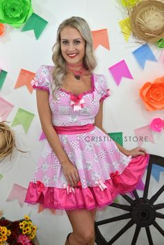 Vestido Floral Rosa Pink - Caipira Chic na internet