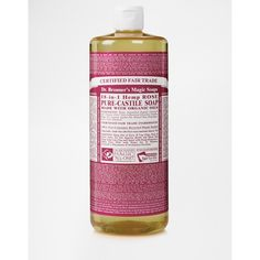 Dr. Bronner Organic Rose Castile Liquid Soap 946ml ($26) ❤ liked on Polyvore featuring beauty products, bath & body products, body cleansers and rose