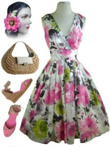 now in stock www.lebombshop.net  50s Style PINUP Pink & Lime FLORALS SURPLICE Sun Dress