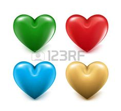 Sets of 3D Colorful Mesh Hearts. Editable Vector Illustration photo