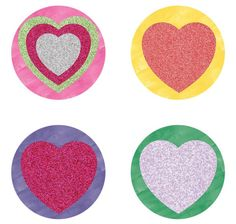 Glitter hearts ver 2 1 inch round digital collage sheet