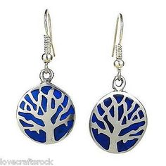 Silver-Earrings-Handmade-Dangle-Round-Fashion-Jewelry-Deep-Blue-Resin-Pewter