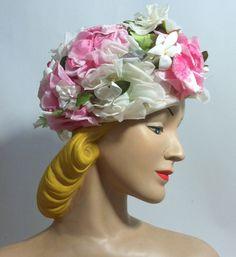 Garden Bouquet Pink Pansy Bucket Hat circa 1960s - Dorothea's Closet Vintage