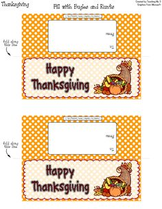 Goodie bag topper card label. HAPPY THANKSGIVING. Fill with Runts candy and Bugles corn chips.