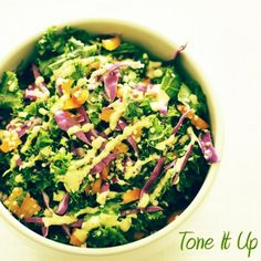 Nutrition plan meals Confetti Kale Salad ~ Great for any meal on the Tone It Up Nutrition Plan. Lunch Recipes, Salad Recipes, Vegetarian Recipes, Healthy Recipes, Healthy Foods, Diet Recipes, Healthy Cooking, Healthy Eating, Cooking Recipes