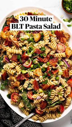 Blt Pasta Salads, Easy Pasta Salad, Pasta Salad Recipes, Lunch Recipes, Dinner Recipes, Healthy Recipes, Yummy Recipes, Recipies, Pasta Dishes