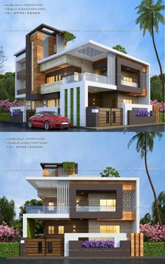 Cozy Look Modern Architecture House Exterior Design Flat Roof House Designs, Modern Exterior House Designs, Modern House Facades, House Front Design, Modern House Design, Exterior Design, Modern Bungalow Exterior, Ranch Exterior, Cottage Exterior