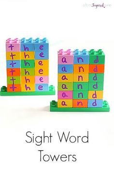 TheseLEGO DUPLO sight word towers are an excellent, hands-on way to teach kids sight words.Now kids can playwith blocks and learn sight words!