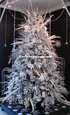 """Mercury's Magic"" Designed by: Christine McCaffery, White Christmas Tree Decorations, Elegant Christmas Trees, White Christmas Trees, Christmas Tree Design, Silver Christmas, Christmas Tree Toppers, Christmas Mantles, Xmas Trees, Victorian Christmas"
