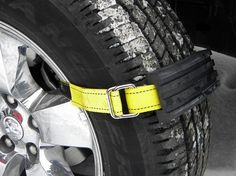 Snow & Mud Tire Traction Straps by Trac-Grabber Tire traction straps from Trac-Grabber are a car safety must-have. Learn how they can help you get Jeep Xj Mods, Jeep Tj, Van 4x4, Do It Yourself Camper, 1000 Lifehacks, Hors Route, Nissan Navara, V Max, Bug Out Vehicle